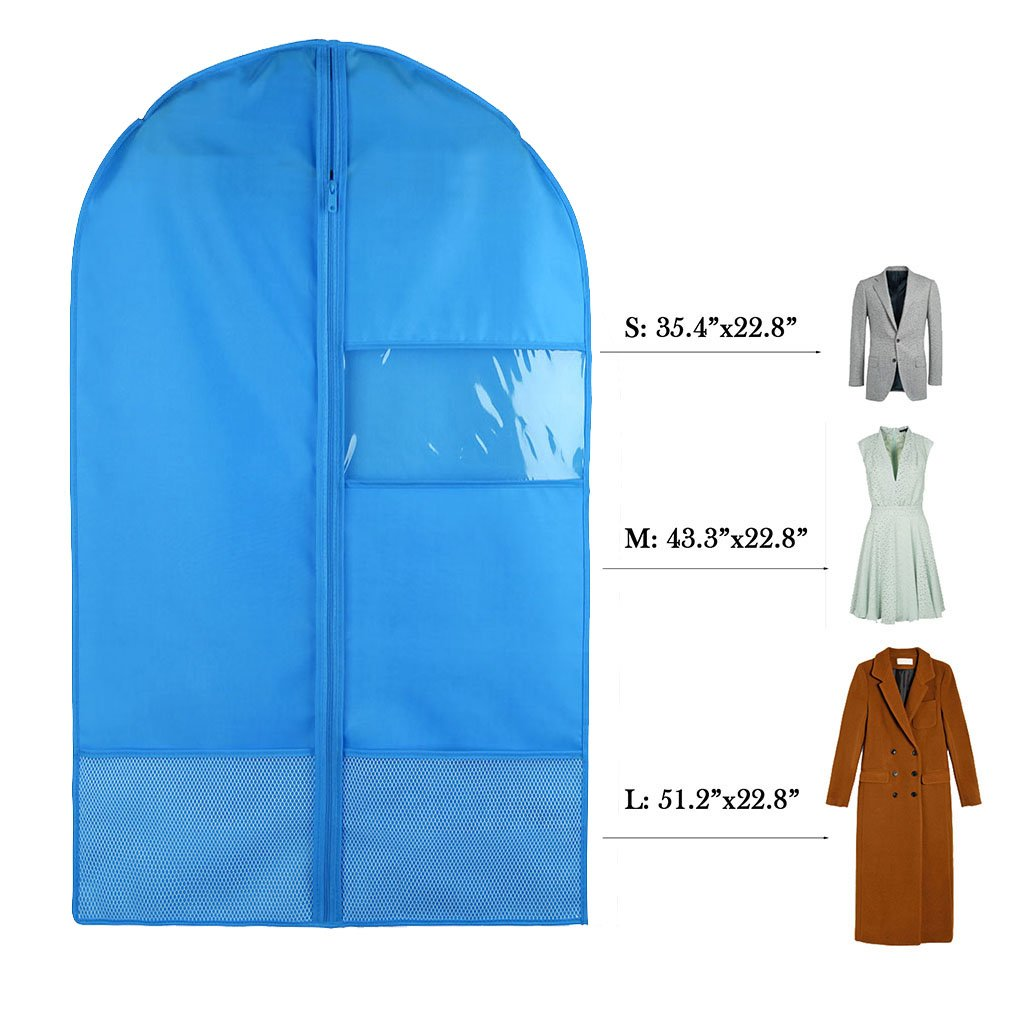 Favorest Breathable Dust-Proof Garment Bag with Clear Window and 2 Mesh Pockets, 41''x22.8'' Anti-Moth Durable Oxford Cloth Suit Covers with Zipper for Suit, Dresses, Linens, Storage or Travel(M, Blue)
