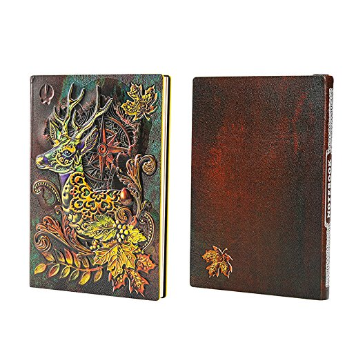 World Traveler Style Leather Embossed Deer Journal Diary Notebook Retro Animal Notebook (A5, 100 Sheets) (Multicolored Deer)