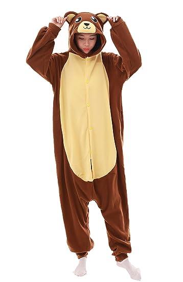 e9b90e4476 Amazon.com  LAYSHOW Adult Unisex Animal Cosplay Pajamas Brown Bear Costumes  Homewear Onesie  Clothing