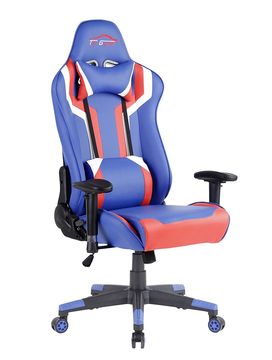 Top Gamer Gaming Chair PC Computer Game Chairs for Video Game (Blue/Red/White,2)