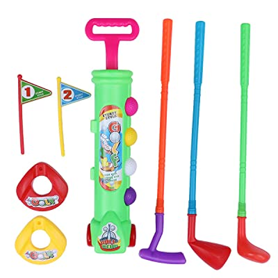 LIOOBO Toys Golf Master Sport Children's Kid's Toy Golf Play Set w/ 4 Balls, 3 Clubs, 2 Practice Holes, 2 Flags: Sports & Outdoors