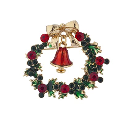 50c3dddfb9112 Lux Accessories Holiday Christmas Green Red Rhinestone Wreath Bell Brooch  Pin