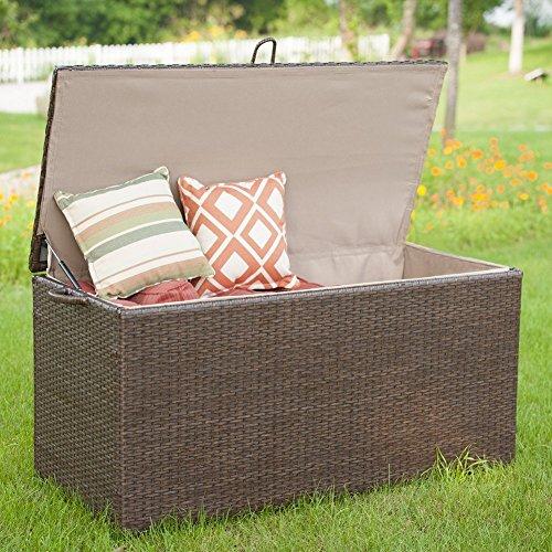 Storage Bin Deck Box PE Wicker Outdoor Patio Cushion Container Garden Furniture, Brown by PatioPost