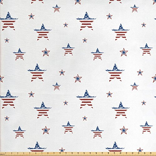 Ambesonne 4th of July Fabric by the Yard, American Flag Old