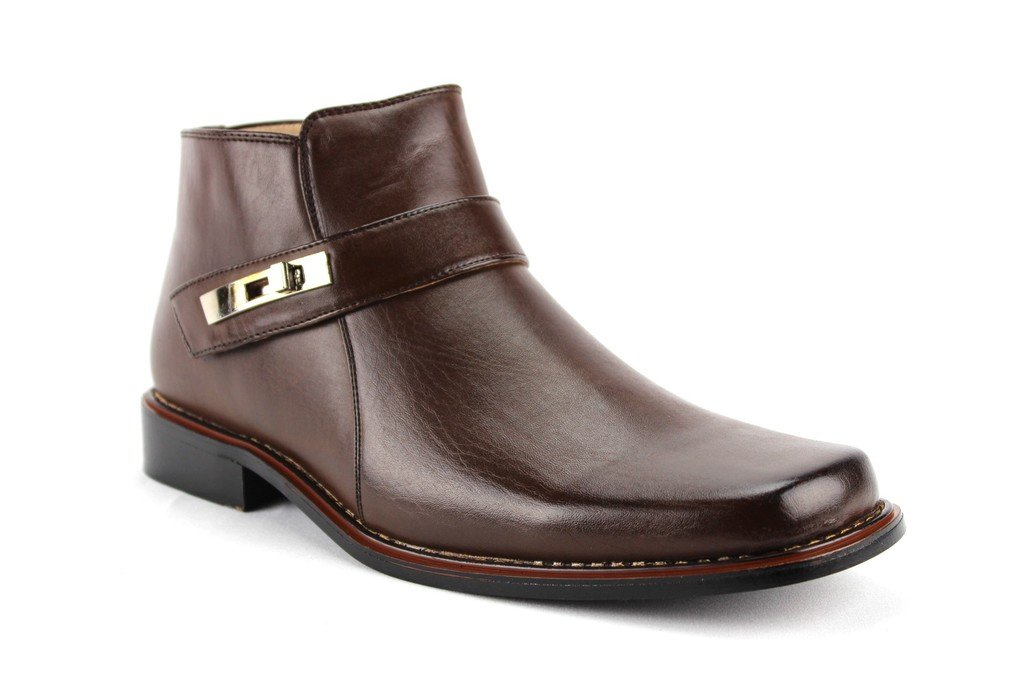Jazame Men's 38901 Ankle High Square Toe Casual Dress Boots, Chocolate, 10