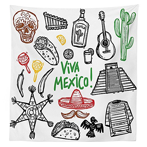Mexican Decorations Tablecloth Sketch Latin Object with Burritos Guitar Tequila Bottle Pinata Quetzal coati Dining Room Kitchen Rectangular Table Cover (Tie Dye Pinata)