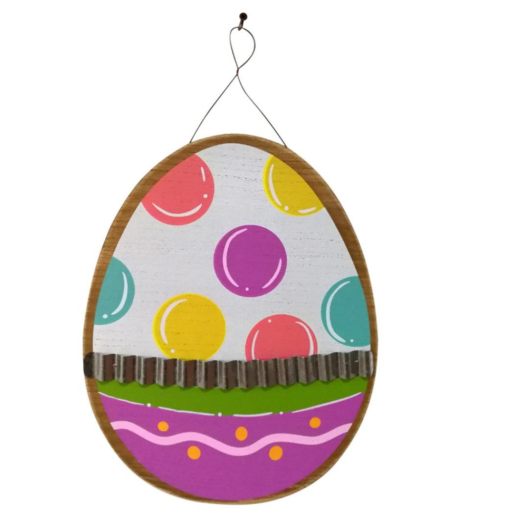 Wooden Corrugated Easter Eggs Iron Hanging Board Garden Plate Easter Decoration Suitable for Home, Bar, Hotel Gessppo