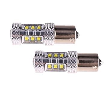 2x Alto Rendimiento 1156 Ba15s Bombillas LED para Coche 80W LED canbus blanco del freno Luz ...