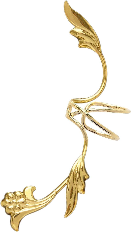 Ear Charms Non-Pierced S//W Leaf Full Ear Spray Gold On Sterling Silver Right Ear Cuff Earrings