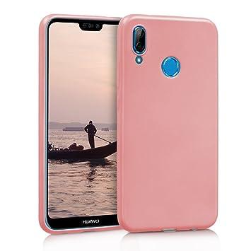 kwmobile Funda para Huawei P20 Lite - Carcasa para móvil en TPU Silicona - Protector Trasero en Oro Rosa Metalizado