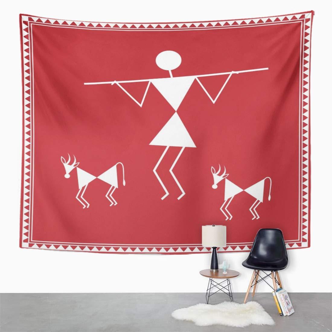 Amazon com emvency tapestry wall hanging india tribal warli