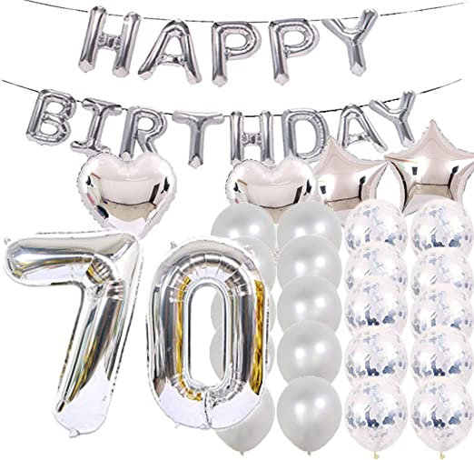 """6 x Blue 70th Birthday 12/"""" Latex Balloons Air Fill Party Decoration 70 Pearlised"""
