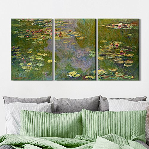3 Panel Waterlilies by Claude Monet x 3 Panels