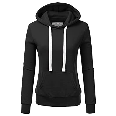 Doublju Basic Lightweight Pullover Hoodie Sweatshirt for Women: Clothing