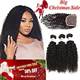 Tuneful Hair 8A Grade Virgin Brazilian Curly Hair 3 Bundles With Lace Closure Unprocessed Remy Human Hair 100% Virgin Hair Natural Black Color 16 18 20 + 14 inch