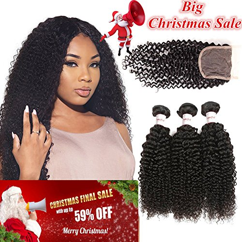 Tuneful Hair 8A Grade Virgin Brazilian Curly Hair 3 Bundles With Lace Closure Unprocessed Remy Human Hair 100% Virgin Hair Natural Black Color 16 18 20 + 14 inch by Tuneful
