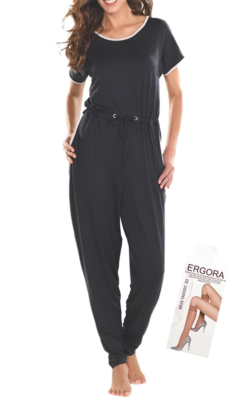 Cybele Damen Jumpsuit Overall in Schwarz 7 Gr. 36 bis 48 Einteiler Homewear aus Single-Jersey + 1 Paar Feinkniestrümpfe