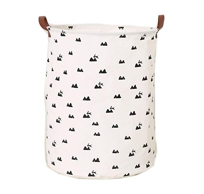 Mvchif Large Canvas Toy Bag Round Laundry Tote Basket with Leather Handle Collapsible Gift Bag for Baby Clothes Home Decor (Mountain)