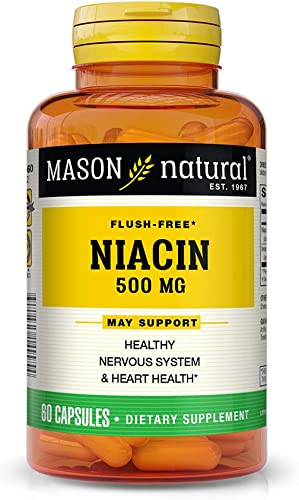 Mason Vitamins Niacin 500 mg flush free A Vitamin B-3 Inositol hexanicotinate 60-Count Bottles Pack of 3