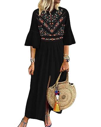 602881144f CNFIO Women's Bohemian Floral Kaftans Dress Split Long Maxi Dress