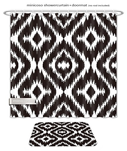 Minicoso Bath Two Piece Suit: Shower Curtains and Bath Rugs Ethnic Seamless Black And White Pattern Boho Abstract Textile Print Geometric Wallpaper Shower Curtain and Doormat Set