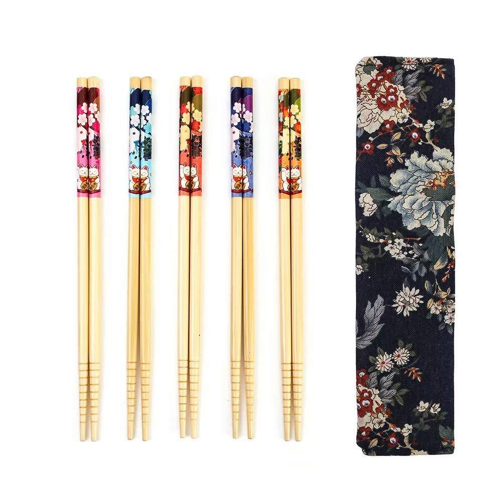 5 Pairs Chopsticks Reusable Set - Japanese Natural Bamboo Chop Stick Set with Case as Present Gift
