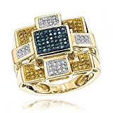 Luxurman Hip Hop Rings 10K White Blue Yellow Natural Pave Set 0.5 Ctw Diamonds Ring (Yellow Gold Size 10.5)