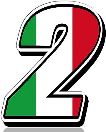 Biomar Labs® Número 2 Bandera de Italia Nacional Italy Calavera Vinilo Adhesivo Pegatina Coche Auto Motocross Moto Sport Start Racing Tuning N 312: Amazon.es: Coche y moto