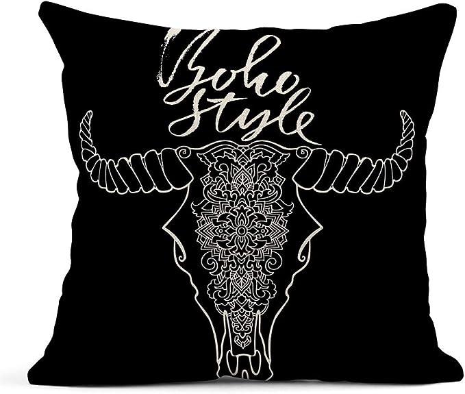 Kinhevao Cojín Mandala Tatuaje Cabeza de Vaca Muerta ...