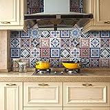 Tile Decals, Seavish Traditional Mexican Tile Sticker Vinyl Peel and Stick Kitchen Backsplash for Interior TV backdrop Decor 7.8''W x 200''L/Roll