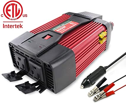 12V DC Adapter BLACK+DECKER PI500B 500W Power Inverter: Dual 120V AC Outlets 3.1A USB Ports Battery Clamps