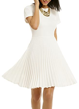9e7a59f24a4 WOOSEA Women s Elegant Pleated Short Sleeves Cocktail Party Swing Dress  (Small