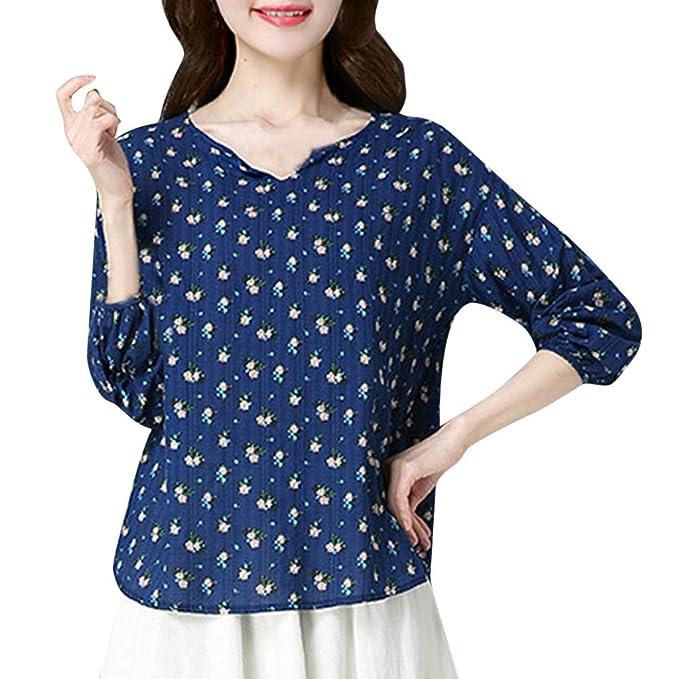Camisas de Mujer Primavera, BBestseller Mujeres Estampada Suelto Casual Camisetas Personalizadas Tops de Manga Larga Blusa: Amazon.es: Ropa y accesorios