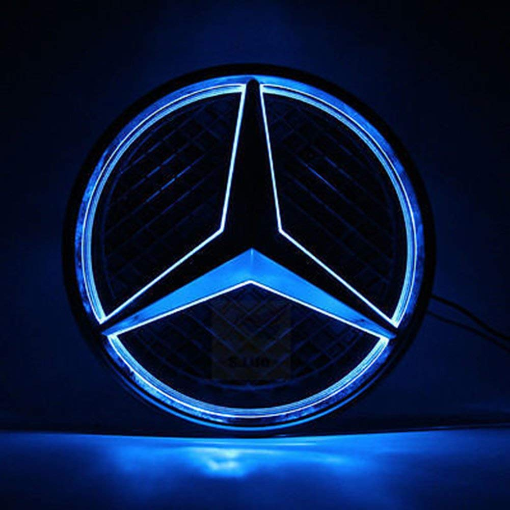 Car Front Grilled Star Emblem LED Illuminated Logo Center Badge Lamp Light,White Light XZ, White LED Emblem for Mercedes Benz 2008-2018