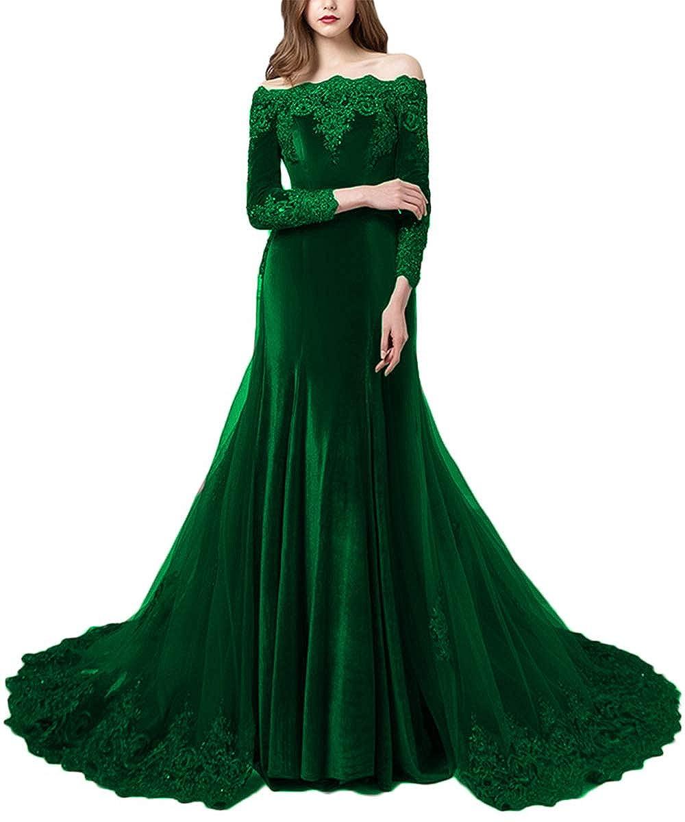 Dark Green Promworld Women's Off the Shoulder Velvet Evening Dress with Sleeves Applique Beaded Formal Prom Dress