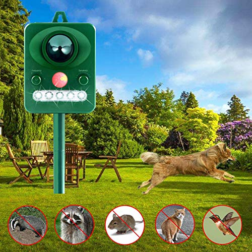 Wonninek Animal Repeller, Ultrasonic Animal LED Flashing Pest Motion Sensor, Outdoor Repellent Cats, Skunks,