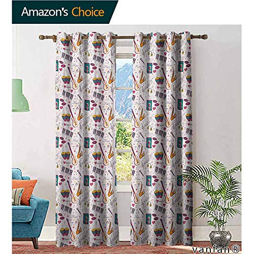 Big datastore Home Decor and Upscale Design Grommet Curtain,MusicInstruments Drums Speakers Keyboard Headphones Records Blues Music is My Life Theme,Set of 2 Pieces,Multicolor,W84 xL108