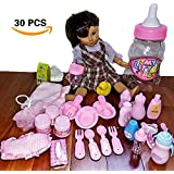 "Doll Feeding Set & Bath Doll Accessories, 30 Pc. Baby Doll Bottles, Doll Food Bowls & Utensils, Doll Hair Brush, Diaper, Doll Pacifiers, 18"" American Girl Dolls, In Baby Bottle Gift Package"
