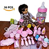 Doll Feeding Set & Bath Doll Accessories, 30 Pc. Baby Doll Bottles, Doll Food Bowls & Utensils, Doll Hair Brush, Diaper, Doll Pacifiers, 18'' American Girl Dolls, in Baby Bottle Gift Package