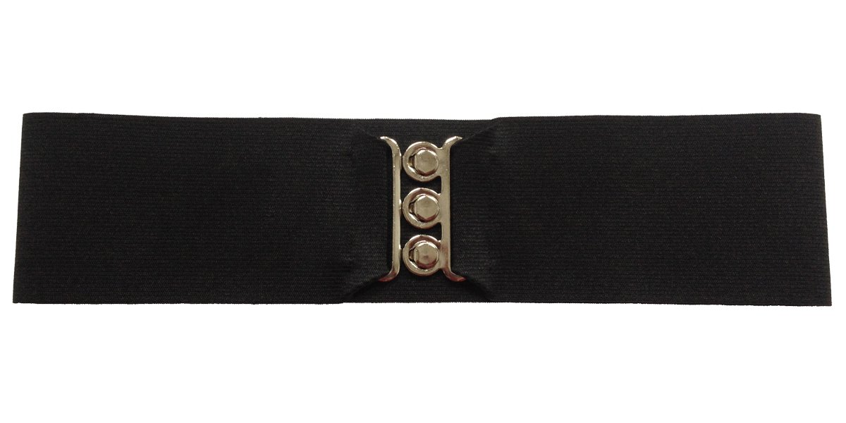 "Silver Clasp 50s Style Cinch 3"" Wide Elastic Belt for Women Junior and Plus Sizes Black XS/SM"