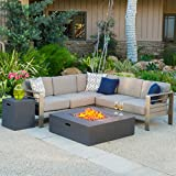 Christopher Knight Home 299881 Crested Bay Outdoor Aluminum Sectional Sofa Set Propane Fire Table | Khaki/Gr, Grey For Sale