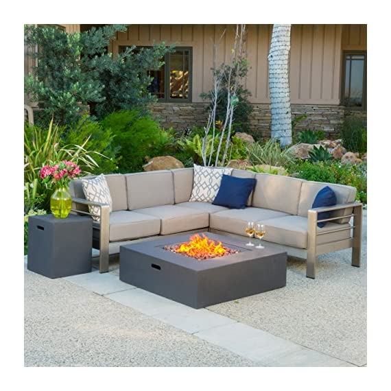 """Christopher Knight Home Cape Coral Outdoor V-Shaped Sofa set with Fire Table, Khaki / Dark Grey - Includes: One (1) Right Arm Two Seater, One (1) Left Arm Two Seater, One (1) Corner Seat, One (1) Fire Table, and One (1) Tank Holder Sofa Material: Aluminum   Sofa Cushion Material: Water Resistant Fabric   Fabric Composition: 100% Polyester   Fire Table Material: MGO   Cushion Color: Khaki   Aluminum Finish: Khaki   Fire Table and Tank Color: Dark Grey Right and Left Sofa: 53.25""""L x 27.60""""W x 31.25""""H   Middle Sofa: 28.25""""L x 27.60""""W x 31.00""""H   Fire Pit 39.91""""L x 39.91""""W x 12.40""""H   Tank Holder: 20.75""""L x 20.75""""W x 24.00""""H - patio-furniture, patio, conversation-sets - 6170u0DC4yL. SS570  -"""