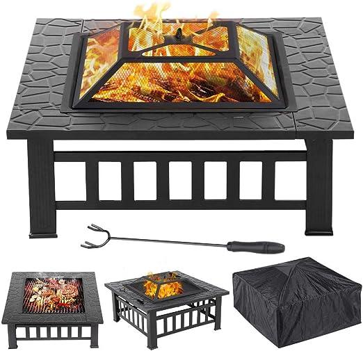Popamazing Contenedor para hacer fuego 3 en 1 para exteriores, brasero de metal cuadrado para jardín o patio, contenedor para estufa/barbacoa/hielo, con funda impermeable: Amazon.es: Jardín