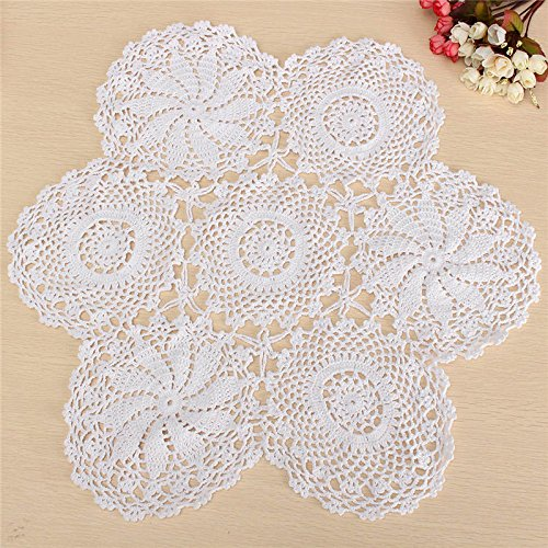 Cute Round Cotton Lace White Hand Crochet Floral Table Centerpiece Doily Handmade Lace Materials Arts Crafts Gifts Home Decor