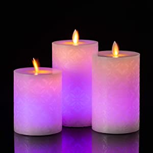 UNIVELA Flameless Candles, Size: D:3.2'' x H:4.7''/5.7''/6.3'', LED Night Lights Battery Candles Set of 3, Real Wax Candles with Remote, 4H/8H Timer, Flickering, 12 Color Changing for Home Decor