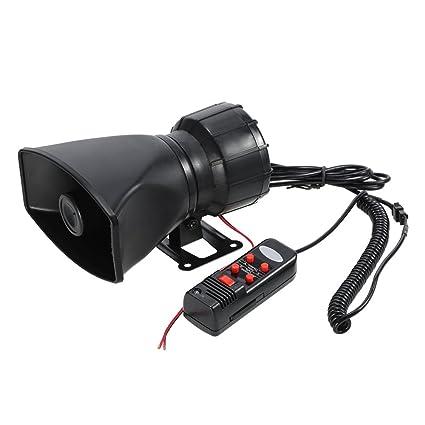 KKmoon 12V 60W Bocina 5 Sonido Alarma de Coche 300dB Sirena de Incendio Policía PA Altavoz Sistema de MIC