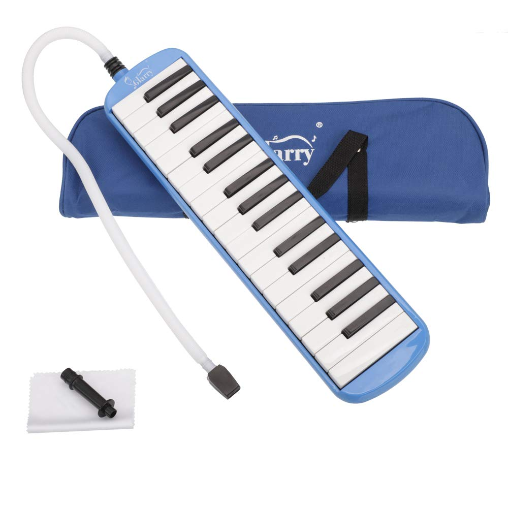 32-Key Melodica Instrument Keyboard Soprano with Mouthpiece & Hose & Carrying Bag (Blue)