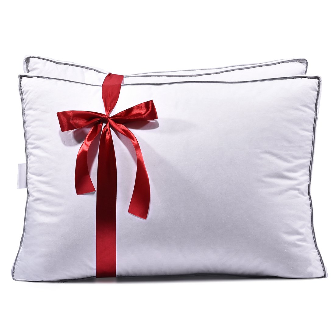Luxury Hotel Collection Premium White Down Bedding Pillow, 600 Fill Power, 100% Egyptian Cotton Shell, Hypoallergenic, With 2'' Gusset, Pack Of 2, (Standard / Queen Size 18x26'')