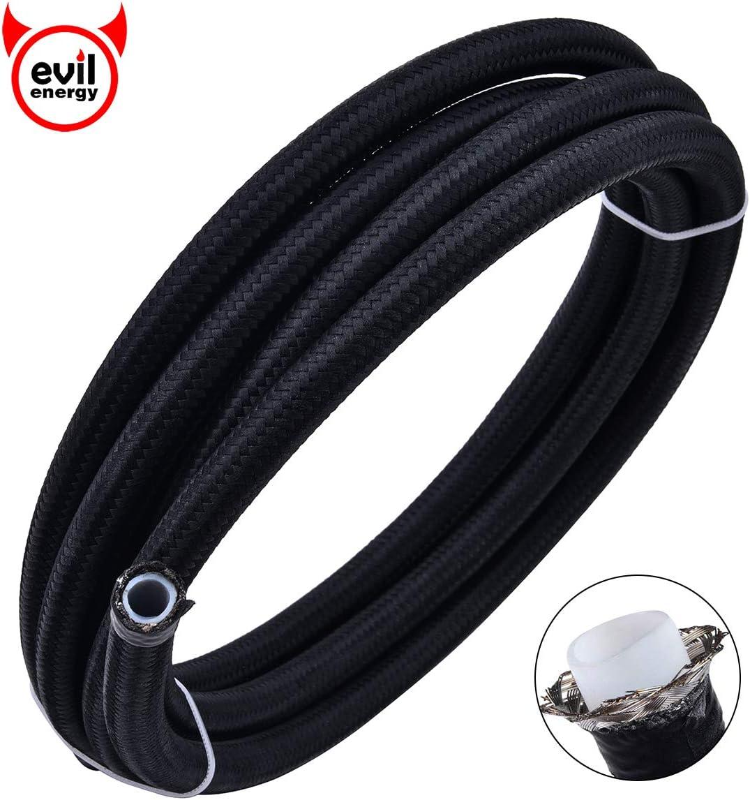 "EVIL ENERGY 10FT 8AN 1/2"" PTFE Fuel Line E85 Tube Nylon Stainless Steel Braided Universal Black (10.7mm ID)"