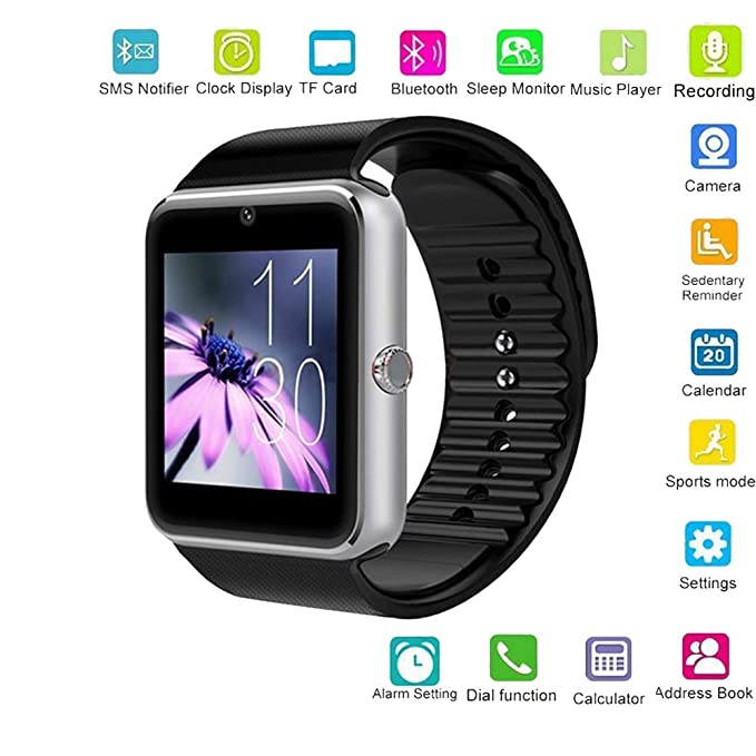 Amazon com: Hangang GT08 Smart Watch with SIM Card Slot and